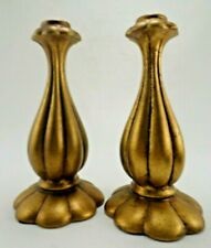 Pair VTG Mid-Century Freeman McFarlin Gold Pottery Tall Candlestick Taper Holder