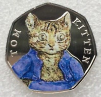 RARE NEW 2017 Beatrix Potter Tom Kitten BU 50p coin Coloured decal UNCIRCULATED