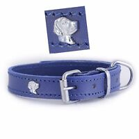Luxury Purple Leather Dog Collar 3 Different Sizes With 8 Different Design Badge