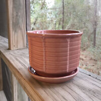 """VTG Pink Ceramic Planter with Attached Saucer Retro Pottery Textured Pot 5"""""""