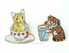 Set of 2 Cat Enamel Pin Brooches (Tea Cup & Soda) Kawaii Kitty Cat Pin Badge