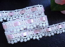 Venise Lace, ivory/pink 3/4 inch wide  selling by the yard
