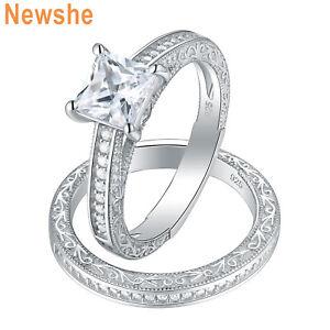 Newshe Bridal Wedding Engagement Ring Set Princess Cz 925 Sterling Silver Size 5