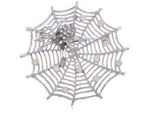 October Fall Spider Lily Spinning Web Crawling Crystal Rhinestone Brooch BIG Pin