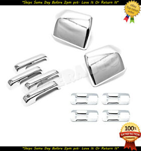 Fits 2015-2020 Ford F-150 Chrome Mirror+Handle+Bowl Cover Overlay Combo Set Trim
