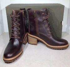 Timberland Sienna High Women's Sz 6.5 Dark Brown Leather Side Zip Boots X2-526