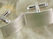 Vintage Anson Sterling Silver Cufflinks Blank No Monogram Concave Rectangle