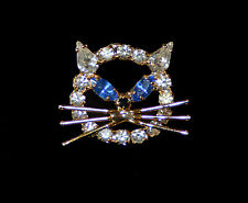 Cat Face - Blue Eyes Crystal Jewelry Pin