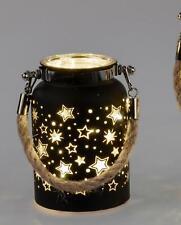 LED Deko Laterne Pyramide FESTIVAL H. 12cm schwarz gold mit Timer Formano W21