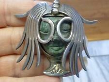 Los Ballesteros Taxco Carved GREEN Face Headress Sterling Silver Pin Necklace