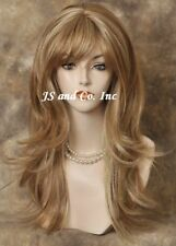 Long Strawberry Blonde Straight Flip Out tips Human Hair Blend Wig wla MF27/613