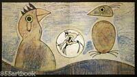 """MAX ERNST Orig STONE Lithograph SIGNED 60x31cm """"Oiseaux"""" Ref. d438/39 +FRAMING"""