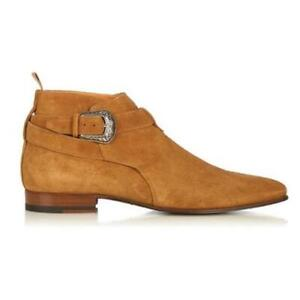 British Men Real Suede Leather Chelsea Boots Shoes Pointy Toe Cowboy Formal 47 L