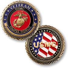 "U.S. Marines Corps - Veteran ""Semper Fidelis"" - USMC / Flag Challenge Coin"