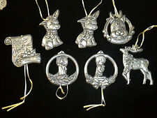 Lot of 7 Metal Aluminum Pewter Flat Ornaments Christmas Holiday