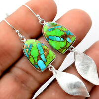 Blue Turquoise In Green Mohave 925 Sterling Silver Earrings Jewelry 9057