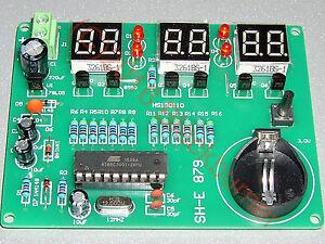 1 Bausatz 6bit LED Quartz Digital Uhr Clock Kit- 89C2051, 6-12V, DIY, 90x60mm