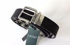 Original Ralph Lauren Herren Gürtel schwarz silber Leder Gr. 80 reversible