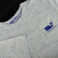 Mens Vineyard Vines Whale Blue Floral Graphic Athletic Shirt Size Large L Casual