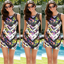 Womens Ladies Sexy Mesh Print Bodycon Cocktail Party Evening Slim Mini Dresses S