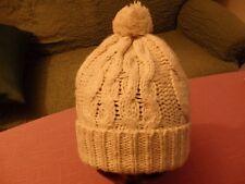 Mütze,natur mit Bommel und Umschlag, schönes Zopfmuster,toller neutraler Farbton