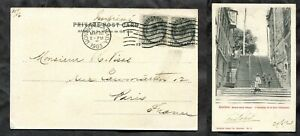 p2083 - Canada 1903 Postcard to FRANCE. Pair ½c QV Numeral. Quebec View