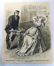 1878 magazine engraving ~ WOMAN FAINTS FOR FIRST TIME