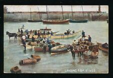 Cornwall ST IVES Landing Fish industry 1905 PPC