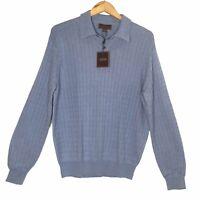 Tasso Elba Mens Silk Cashmere Cardigan Sweater Blue 3 Button Collar Size M NEW