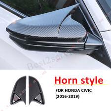 HORN Carbon Fiber Door Side Mirror Cover Trim Cap For Honda Civic 2016 2017 2018