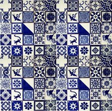"100 Mexican Talavera Ceramic Tiles 4"" BLUE & WHITE DESIGNS"
