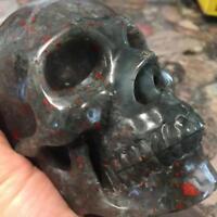 "5.""Natural Blood stone Carved Crystal Skull Realistic Healing Skeleton  #4041"