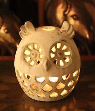 Ornament Candle Tea  holder Light Bird Owl  Silhouette Decorative Stone