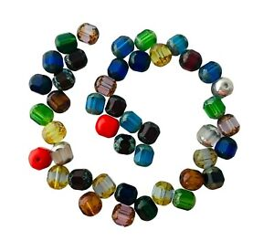 50 Preciosa Fire Polished Czech Glass Assorted Mix Rosary 8mm Cathedral Beads
