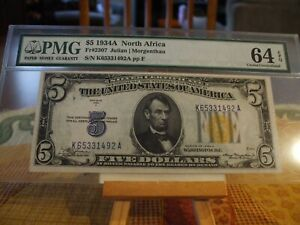 1934a $5  North African Emergency Issue Note  FR 2307  PMG 64 EPQ