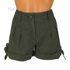 LAUREN CONRAD Size 2 DARK OLIVE Green SHORTS with CUFFS & SIDE TIES at Hem