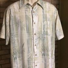 GREEN BAMBOO Men's Large Hawaiian Camp Shirt Palm Print 70% Bamboo