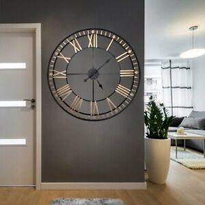 Vintage Wanduhr Uhr Analog Küchenuhr Globus Retro Römische Zahlen Ø80cm