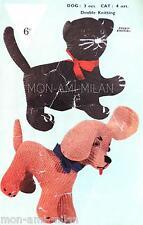 "Vintage 50s Knitting Pattern • CAT & DOG • KITTEN PUPPY SOFT TOYS • ANIMALS • 9"""