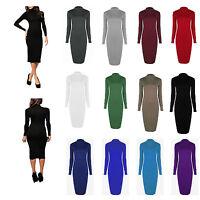 NEW LADIES WOMENS LONG SLEEVE STRETCH BODYCON PLAIN POLO NECK MIDI MAXI DRESS