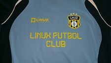 Linux Futbol Club LFC12 Blue White Trim Soccer Jersey Shirt Men's Large EUC RARE