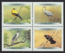BIRDS = HAWK, BLACKBIRD, GOLDFINCH, CRANE = Block of 4 Canada 1999 #1773a MNH