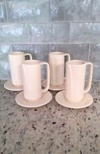 Vtg Claudia Shwide Toscany Coffee Cappuccino Tea Tall Narrow Mugs Saucers Qty 4