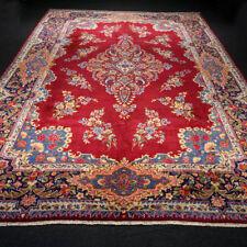Orient Teppich Rot 365 x 258 cm Blau Perserteppich Handgeknüpft Red Carpet Rug
