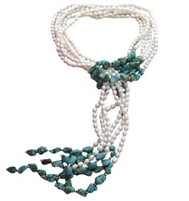 "44"" Pearl Turquoise Long Loop Necklace"