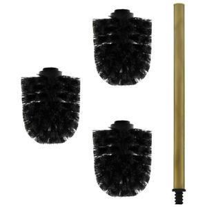 3x Bürstenkopf schwarz + 1x Griff 26 cm Alt-Messing Toilettenbürste / Klobürste