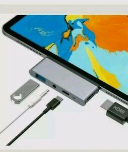 USB C Hub Aluminium 4 in 1 Type C to 4K HDMI Adapter USB 3.0 3.5mm Audio Jack