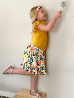 Girls Toddler Poppy Floral Flower Brights Spring Lace Skirt Set 2T 3T 4T 5 6 7 8