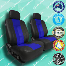 HOLDEN BARINA BLUE/BLACK LEATHER CAR FRONT SEATCOVERS, VINYL ALL OVER SEAT