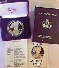 1988 S 1oz Proof Silver Coin $1 American Eagle United States Box and Certificate